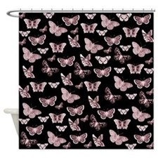 Pink and Black Butterflies Shower Curtain