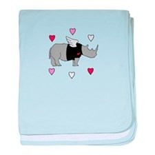Rhino Cupid with Hearts baby blanket