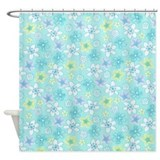 Floral blue green Shower Curtain