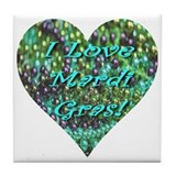 I Love Mardi Gras Bead Heart Tile Coaster
