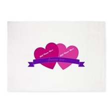 Forever Love Heart Names 5'x7'Area Rug