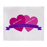 Forever Love Heart Names Throw Blanket