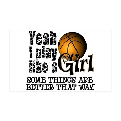 Play Like a Girl - Basketball 35x21 Wall Decal