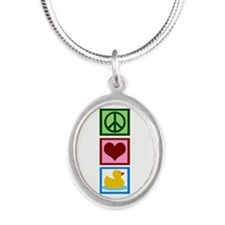 Peace Love Ducks Silver Oval Necklace