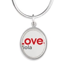 Love Viola Silver Oval Necklace