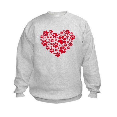 red heart with paws, animal foodprint pattern Swea