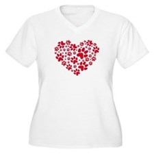 red heart with paws, animal foodprint pattern Plus