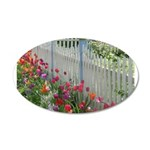 Tulips Along White Picket Fence Wall Decal