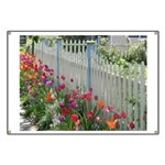 Tulips Along White Picket Fence Banner
