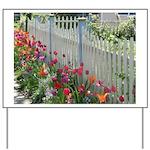 Tulips Along White Picket Fence Yard Sign
