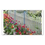 Tulips Along White Picket Fence Sticker