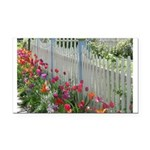 Tulips Along White Picket Fence Rectangle Car Magn