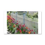 Tulips Along White Picket Fence Car Magnet 20 x 12