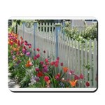 Tulips Along White Picket Fence Mousepad