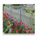 Tulips Along White Picket Fence Tile Coaster