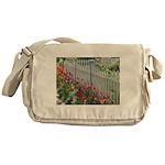 Tulips Along White Picket Fence Messenger Bag