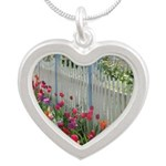 Tulips Along White Picket Fence Silver Heart Neckl