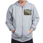 Tulips Along White Picket Fence Zip Hoodie