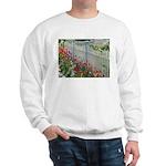 Tulips Along White Picket Fence Sweatshirt