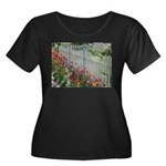 Tulips Along White Picket Fence Plus Size T-Shirt