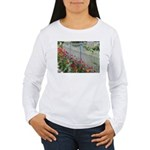 Tulips Along White Picket Fence Long Sleeve T-Shir