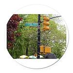 Central Park street sign Round Car Magnet