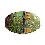 Central Park street sign Oval Car Magnet