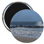 Crashing Wave on rocks along beach Magnet