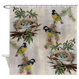 Vintage Birds and Nests Shower Curtain