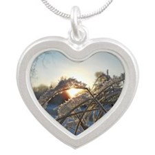 Snowflakes on Grass Silver Heart Necklace