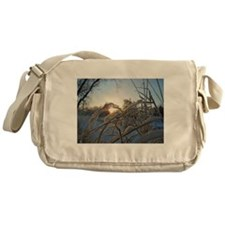 Snowfakes on Grass Messenger Bag