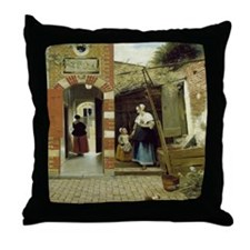 Courtyard in Delft Throw Pillow