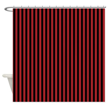 Gifts gt bathroom d 233 cor gt red and black pirate stripes shower curtain