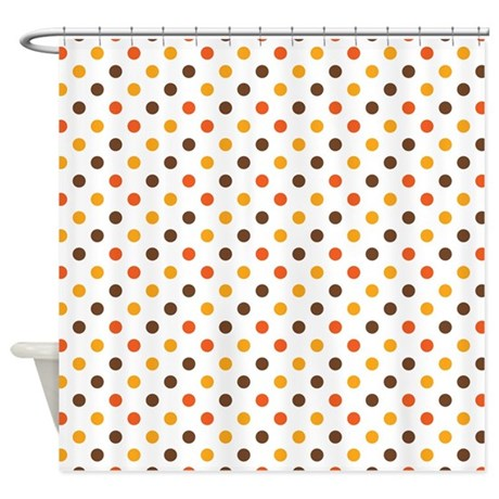 Orange Gold Brown Dots Shower Curtain By Be Inspired By Life