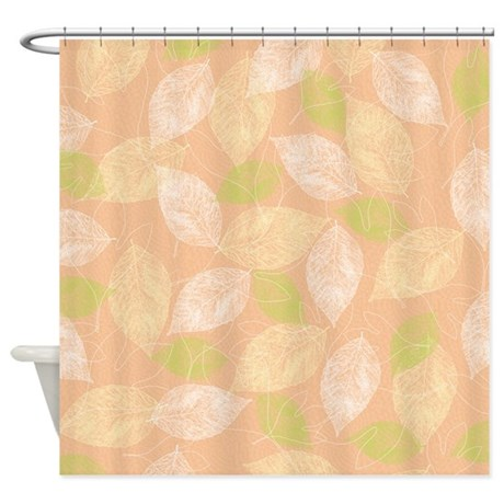 gifts bathroom d cor peach leaves shower curtain