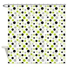 Black Lime and White Dots Shower Curtain