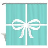 Aqua and White Big Bow Shower Curtain