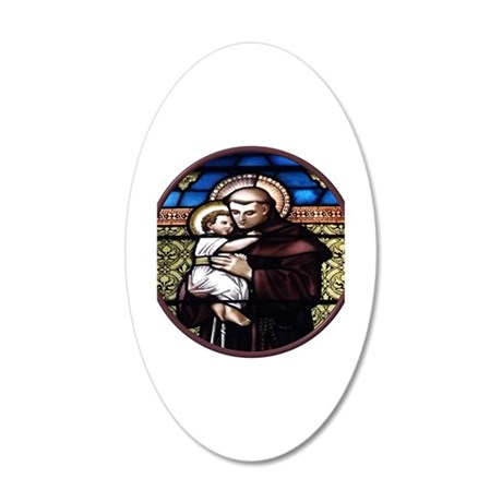 ST. ANTHONY OF PADUA STAINED GLASS WINDOW 20x12 Ov