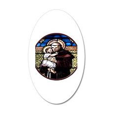 ST. ANTHONY OF PADUA STAINED GLASS WINDOW 35x21 Ov