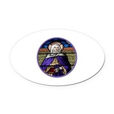 St. Anne Stained Glass Window Oval Car Magnet