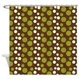 Green and White Bubble Dots Shower Curtain