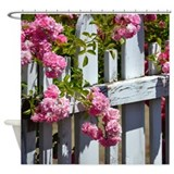 White Picket Fence with Roses Shower Curtain
