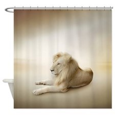 White Lion Shower Curtain