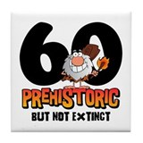 Prehistoric 60th Birthday Tile Coaster