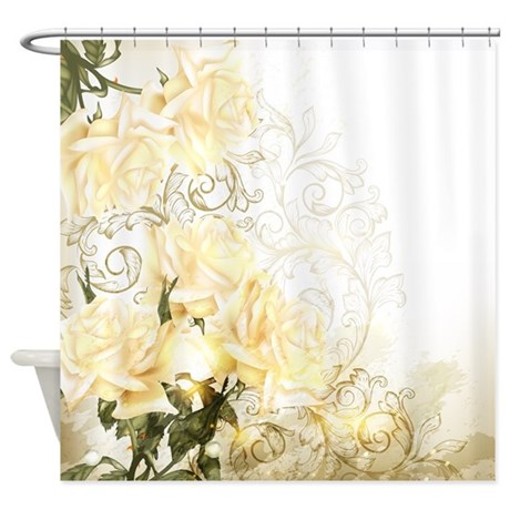 Artistic yellow roses shower curtain by showercurtainshop