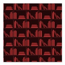 Books on Bookshelf, Dark Red. Square Car Magnet 3""
