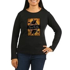 Women's Long Sleeve Dark T-Shirt (black/brown)