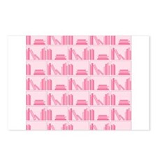 Books on Bookshelf, Pink. Postcards (Package of 8)
