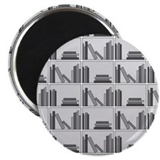 "Books on Bookshelf, Gray. 2.25"" Magnet (100 pack)"