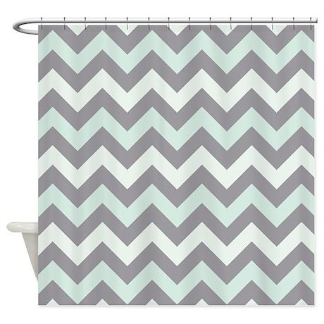 Sea foam zigzag pattern shower curtain by zandiepants for Zig zag bathroom decor